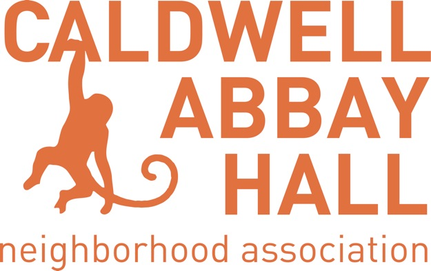 Logo click to got to home page. LOGO is a monkey swinging on the words Caldwell Abbay Hall