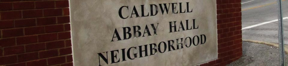 Caldwell Abbay Hall Neighborhood brick and stone sign